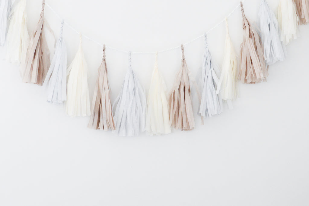 Soft winter tones tassel garland - various lengths
