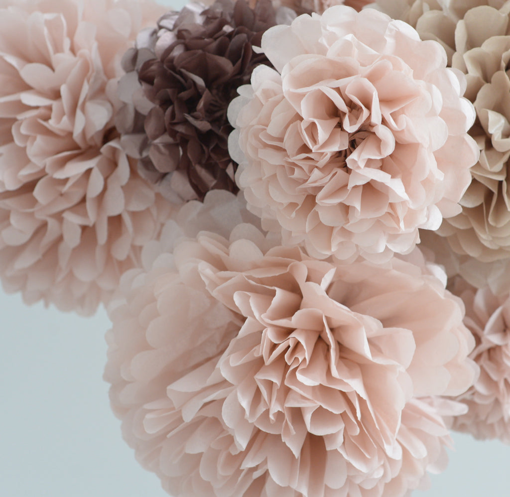 Dusty pink and rose gold 15 large tissue paper Pom Poms party set