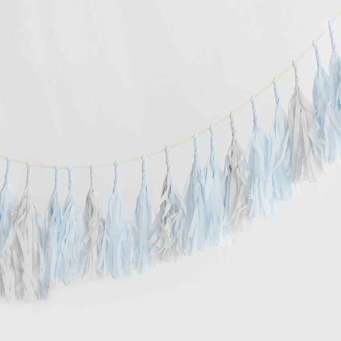 Blue breeze and mountain mist tassel garland - various lengths