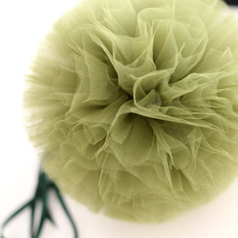 Army green / olive tulle pom pom