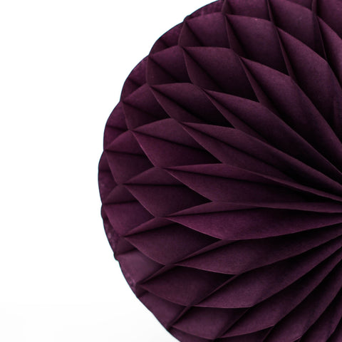 Aubergine tissue paper honeycomb - hanging party decorations
