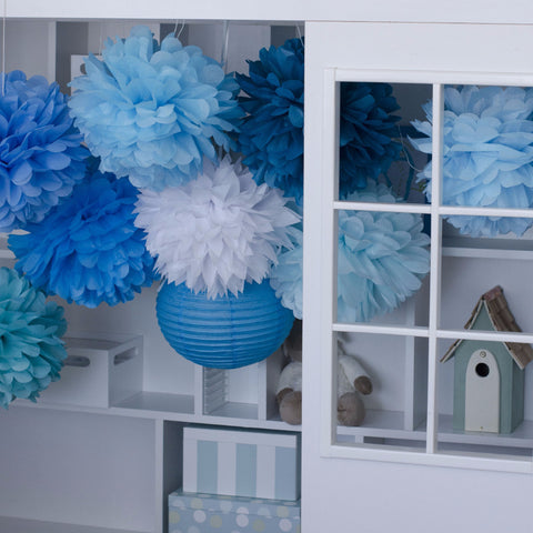 All blue tissue paper  pom poms party set