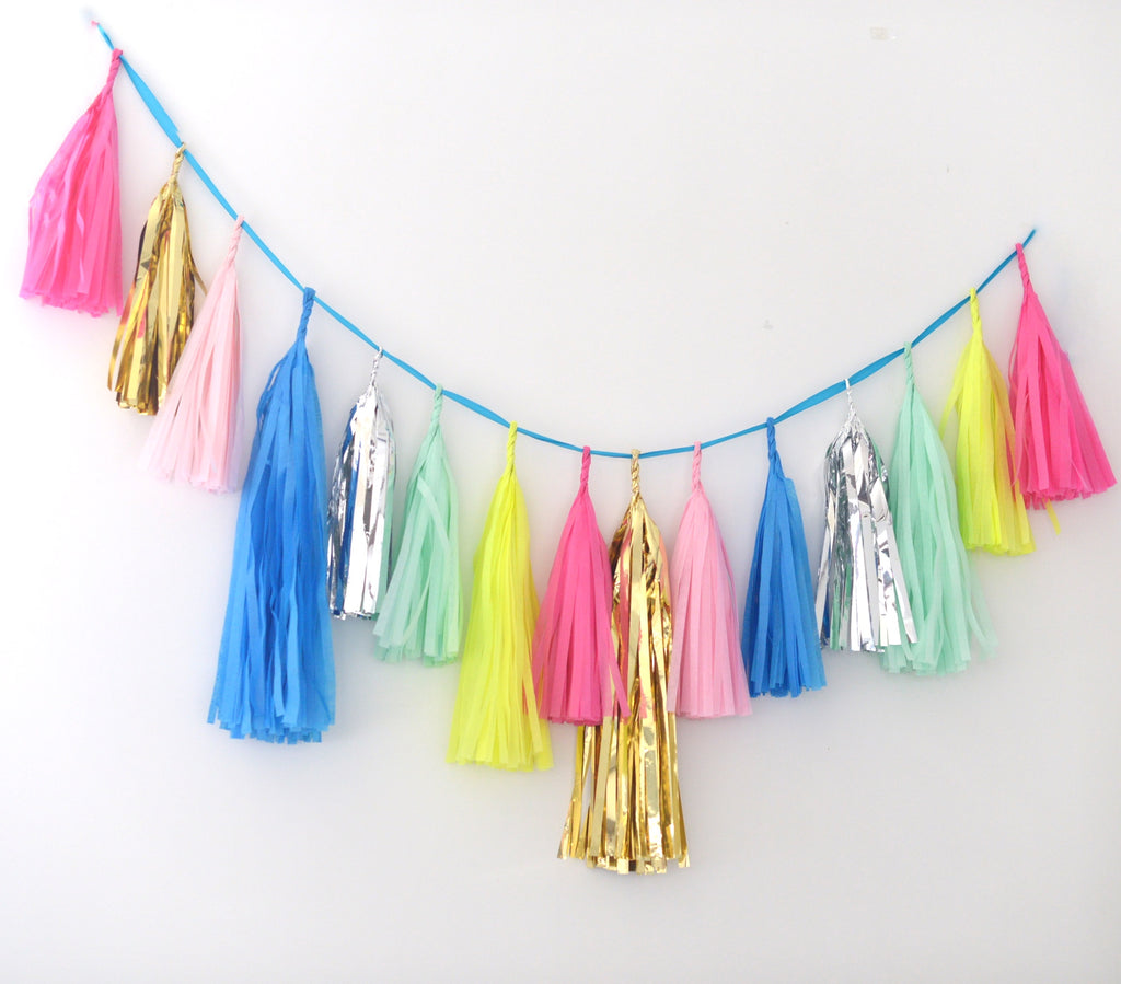 Tissue Paper Tassel Garland - fully assembled bright fiesta, limon, mint, pink silver and gold - various lengths