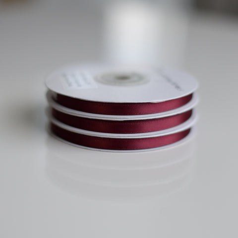 Burgundy Double Sided Satin Ribbon Roll - 25m
