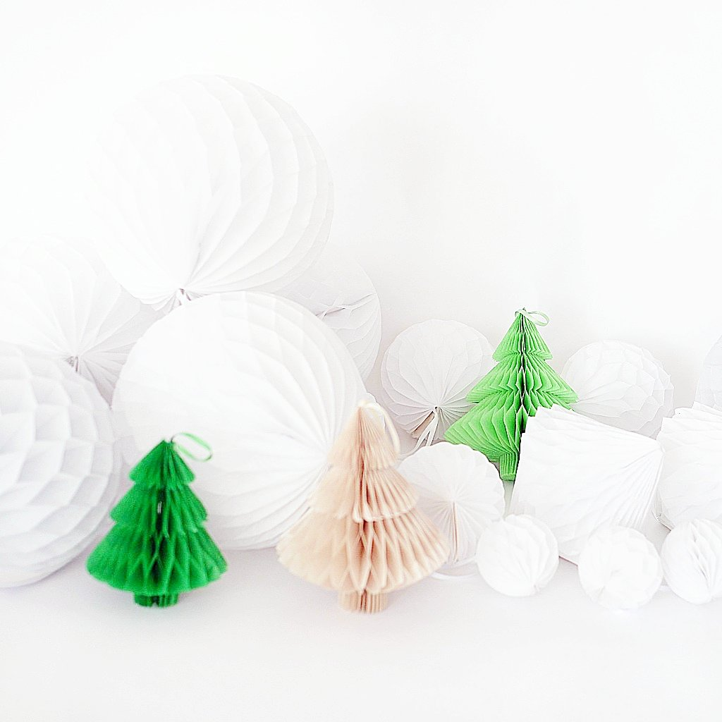 Christmas decorations - Paper Honeycombs party set