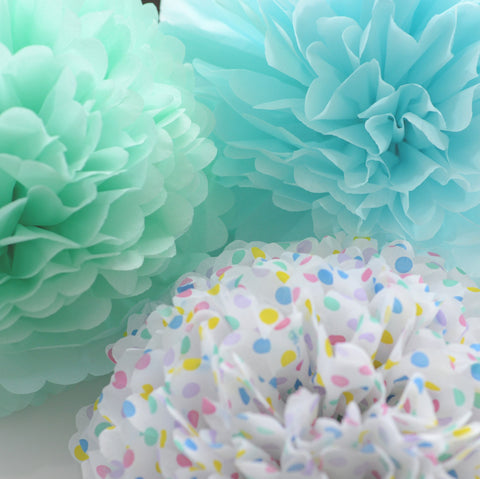 Aqua and mint tissue paper  pom poms party set - Decopompoms - party decoration boutique