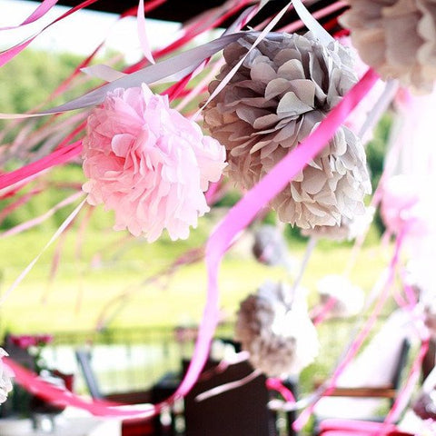 Grey and pink pom poms set - Decopompoms - party decoration boutique