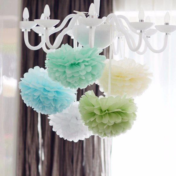 Colored Pom Sets - Mint And Blue Pom Poms Party Set