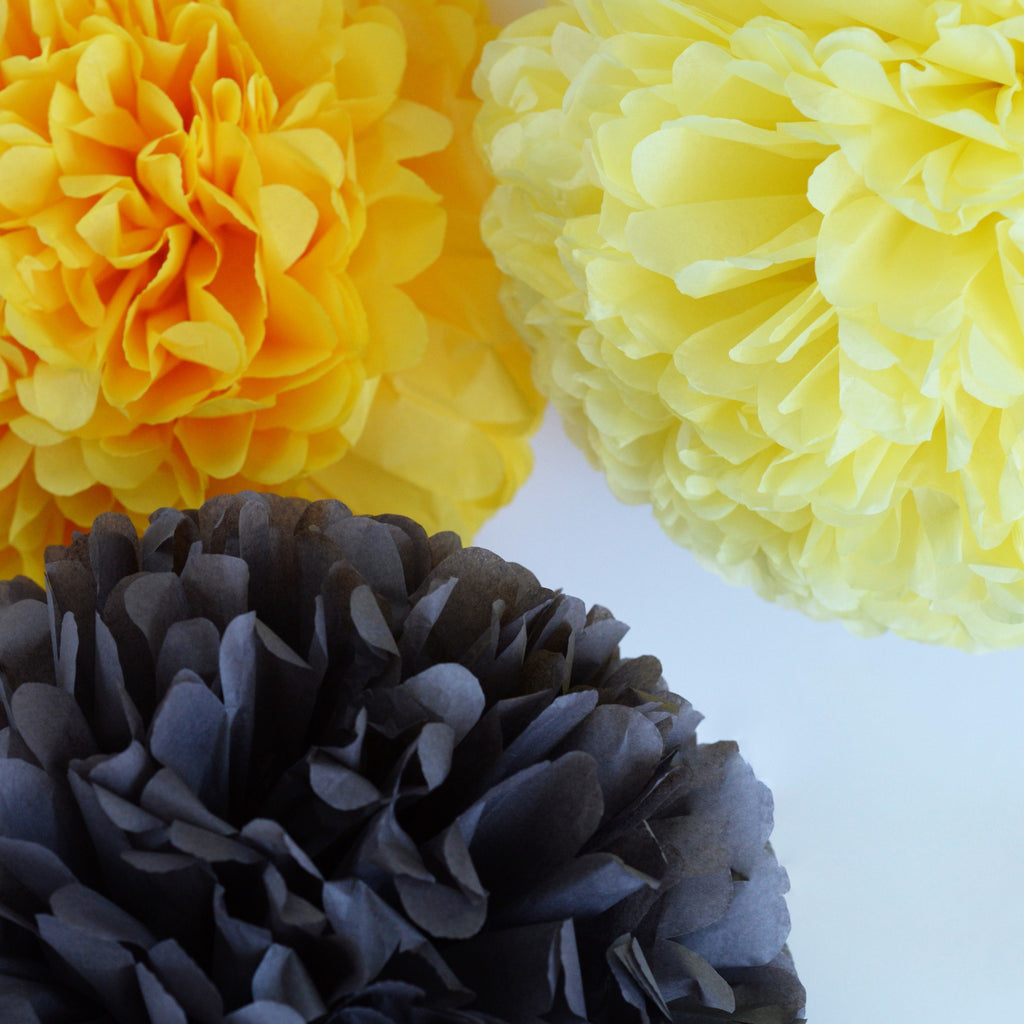 Colored Pom Sets - Yellow + Gray Pom Poms Party Set