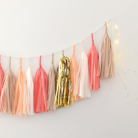 Coral, nudes and gold tissue paper tassel garland - various lengths