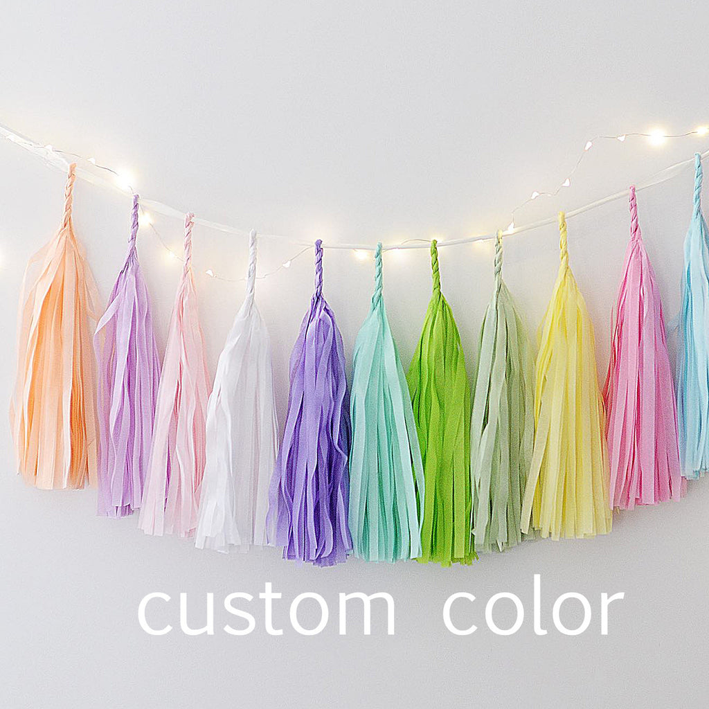Custom color paper tassel garland