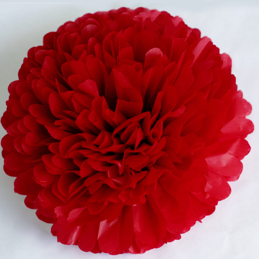 Large size deep red tissue paper pom pom