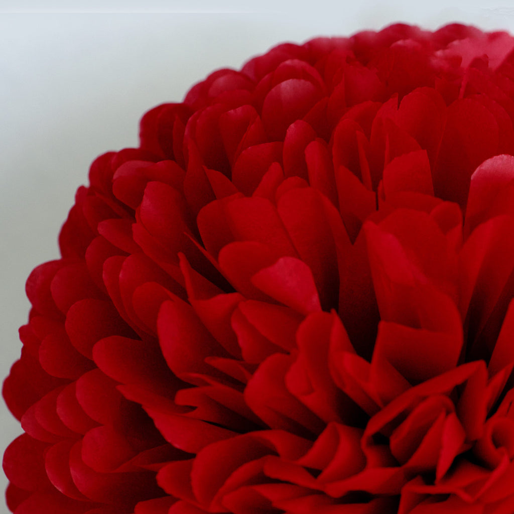 Large size cherry red tissue paper pom pom