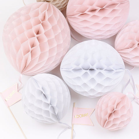 Dusty blush Paper Honeycomb party set