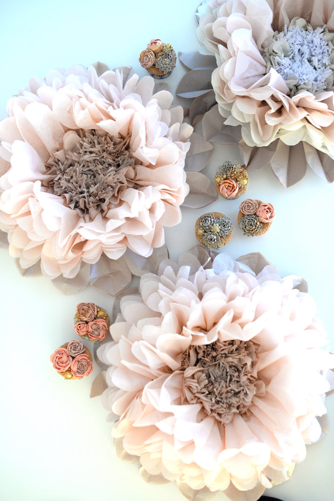 Dusty blush tissue paper flowers