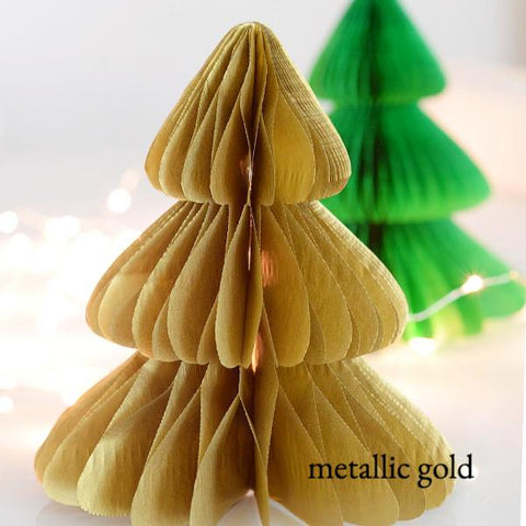 Shimmery  / metallic color tissue  paper Christmas tree - Honeycomb  - custom color