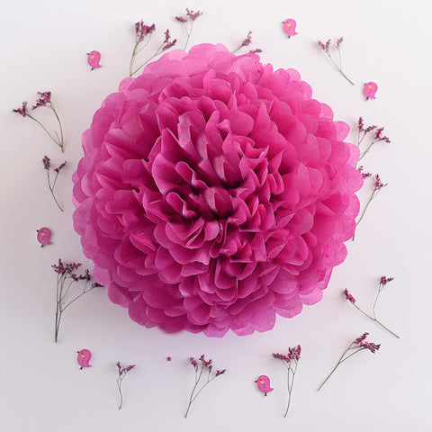 Fuschia tissue paper pom pom - Decopompoms - party decoration boutique