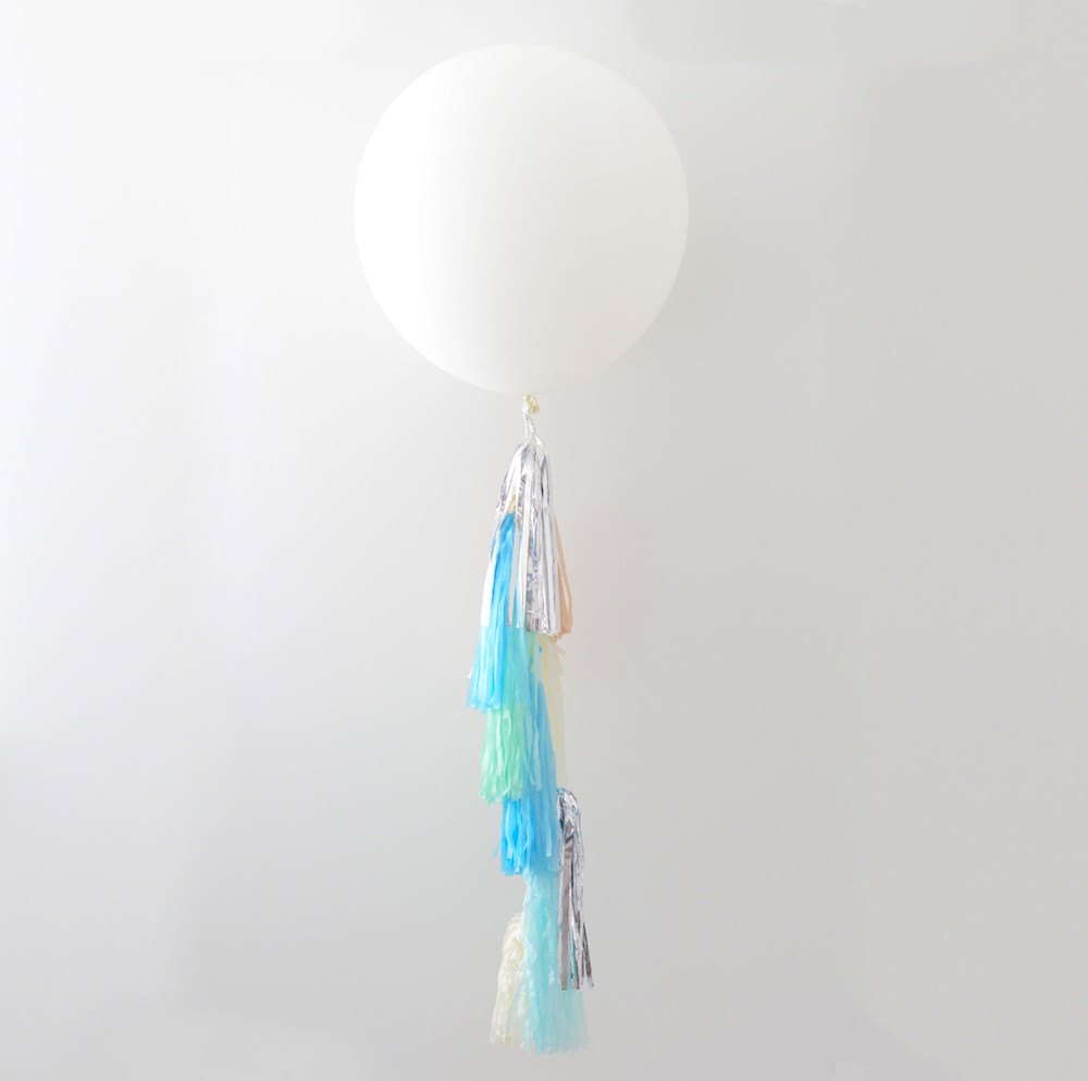 Garland - White Giant Balloon With Custom Color And Length Tassel Tail