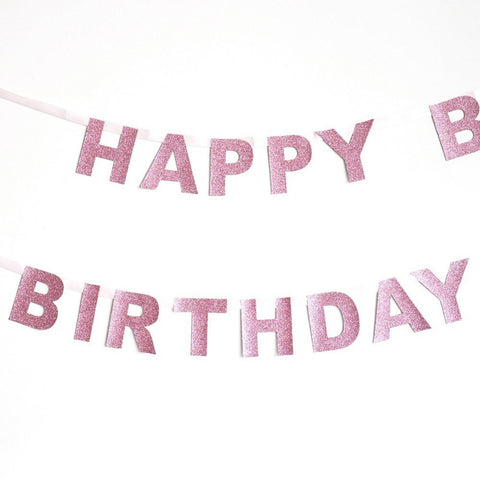 Glitter Happy birthday garland - Decopompoms - party decoration boutique