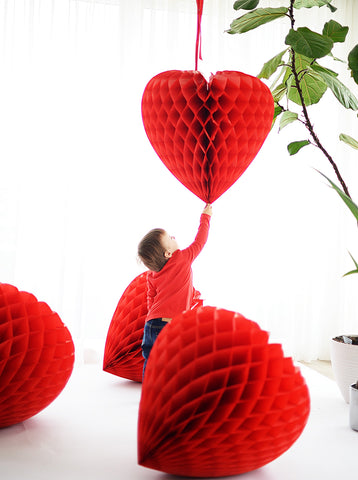 Huge red paper heart honeycomb