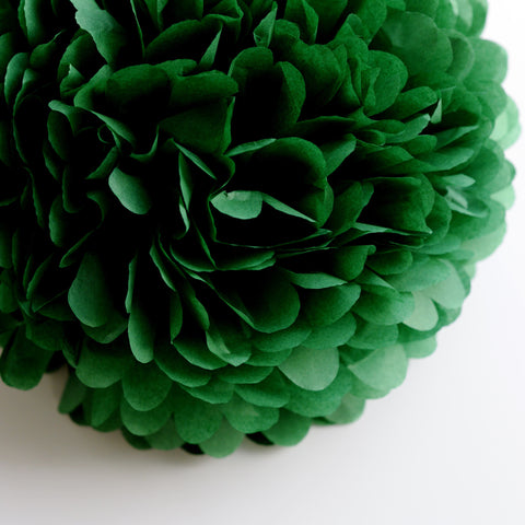 Large size Holiday green tissue paper pom pom
