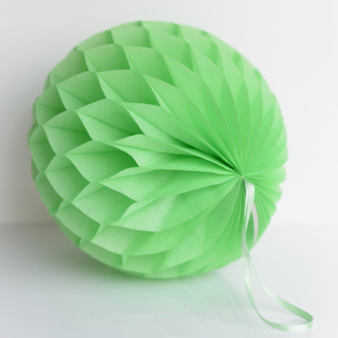 Apple green paper honeycomb - hanging party decorations - Decopompoms - party decoration boutique