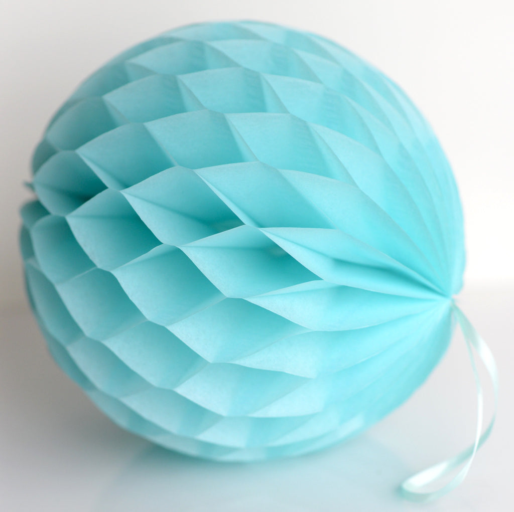 Aquamarine paper honeycomb - hanging party decorations - Decopompoms - party decoration boutique
