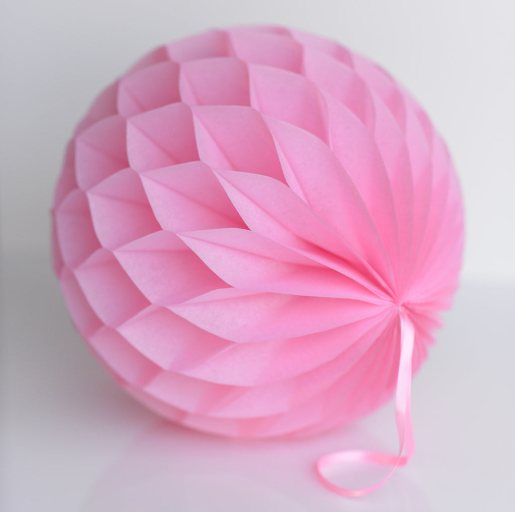 Baby pink paper honeycomb - hanging party decorations - Decopompoms - party decoration boutique