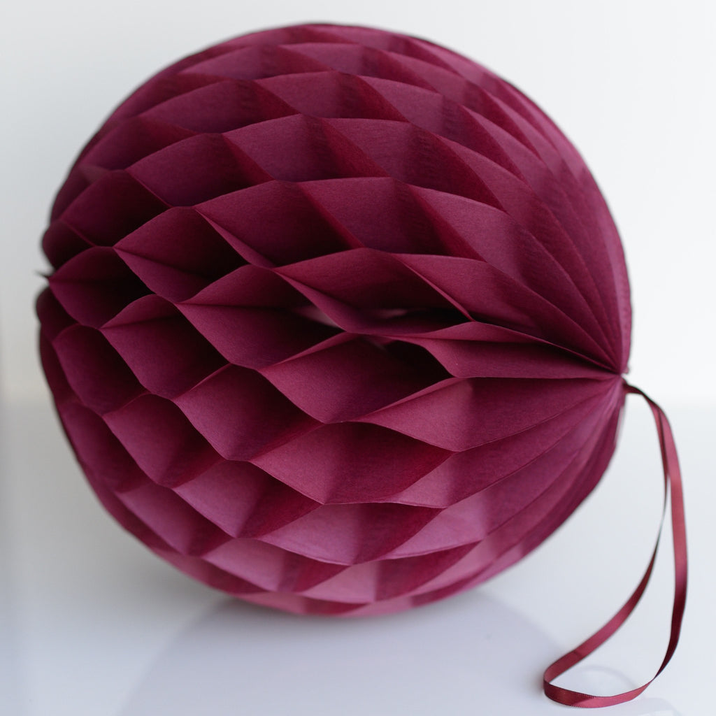 Burgundy paper honeycomb - hanging party decorations - Decopompoms - party decoration boutique