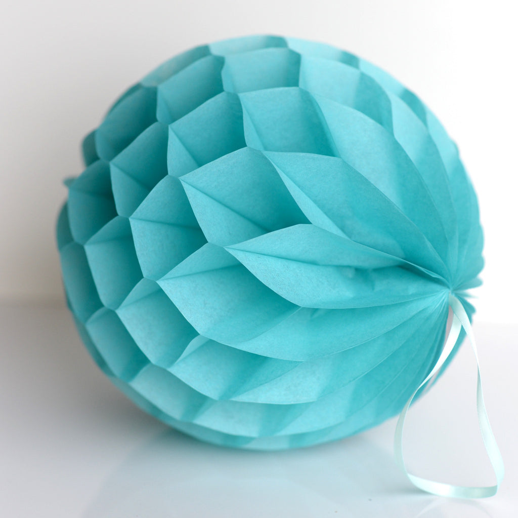 Carribean blue/ Tiffany's paper honeycomb - hanging party decorations - Decopompoms - party decoration boutique