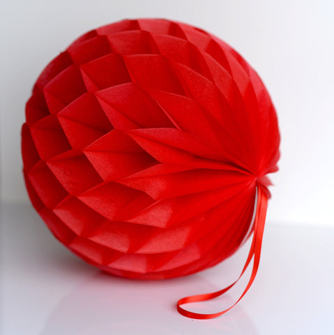 Honeycomb - Cherry Red Paper Honeycomb - Hanging Party Decorations