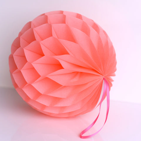 Coral paper honeycomb - hanging party decorations - Decopompoms - party decoration boutique