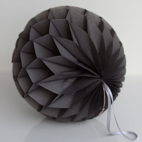 Dark grey / slate grey paper honeycomb - hanging party decorations - Decopompoms - party decoration boutique
