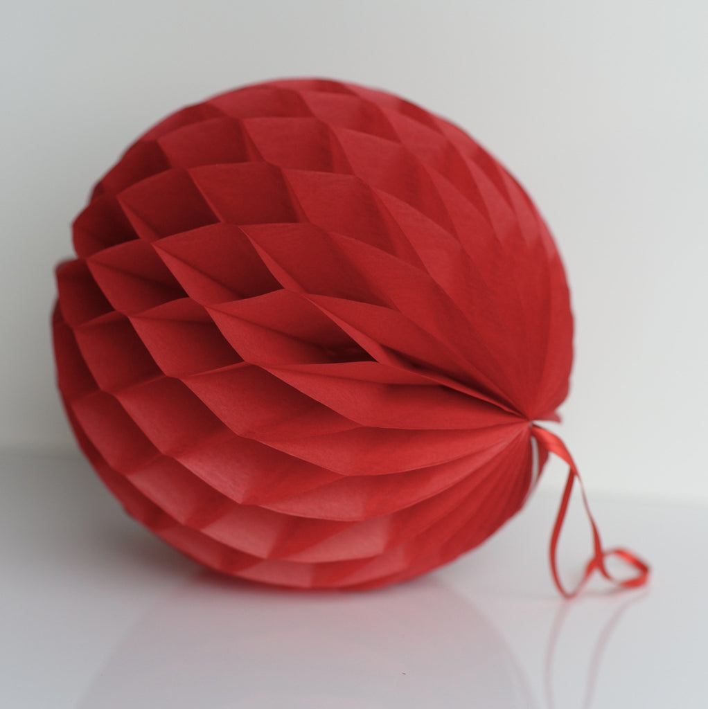 Deep red paper honeycomb - hanging party decorations - Decopompoms - party decoration boutique