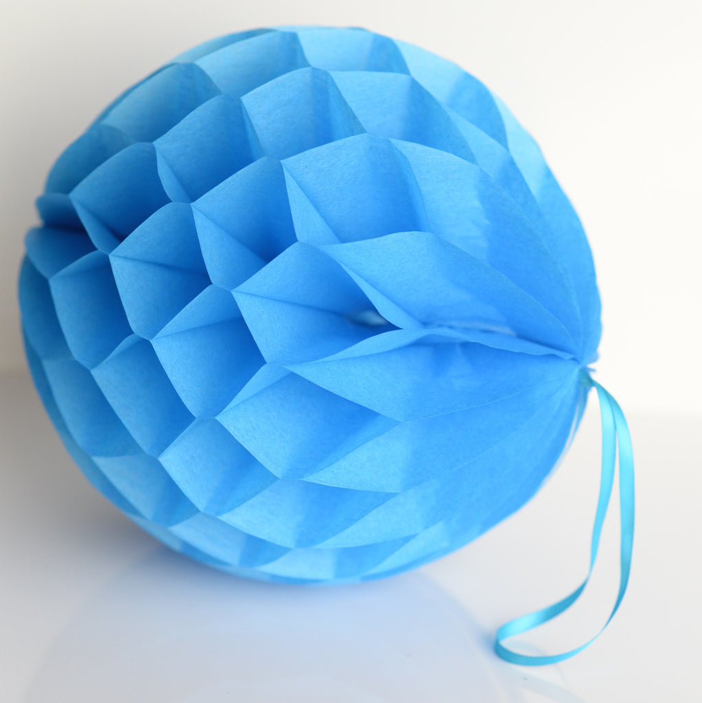 Fiesta blue paper honeycomb - hanging party decorations - Decopompoms - party decoration boutique
