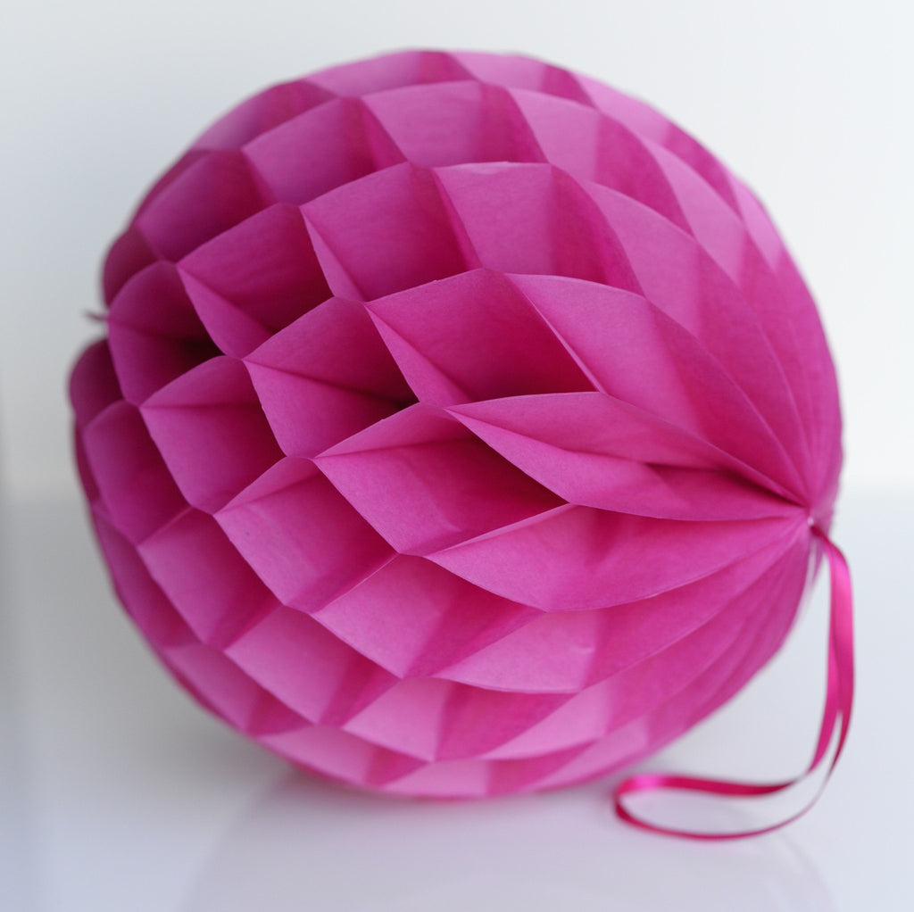 Fuschia paper honeycomb - hanging party decorations - Decopompoms - party decoration boutique