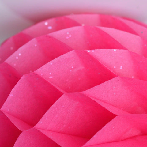 Gemstone Hot pink paper honeycomb - hanging party decorations - Decopompoms - party decoration boutique