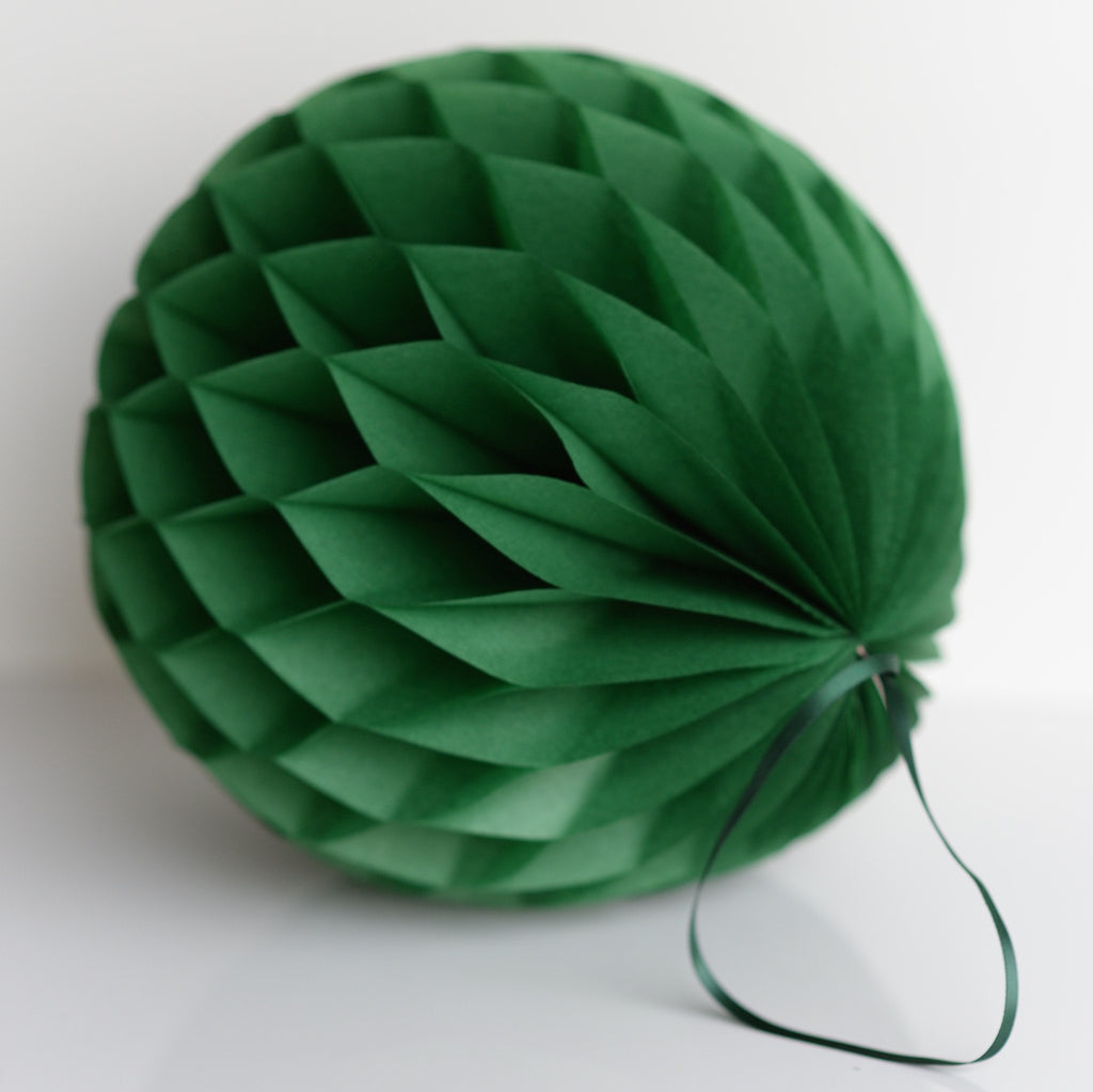 Holiday green green paper honeycomb - hanging party decorations - Decopompoms - party decoration boutique