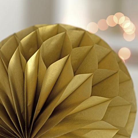 Metallic gold paper honeycomb - hanging party decorations - Decopompoms - party decoration boutique