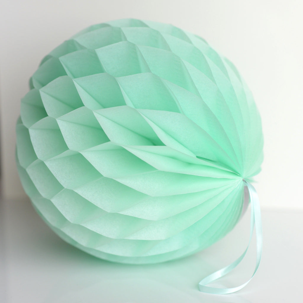 Mint paper honeycomb - hanging party decorations - Decopompoms - party decoration boutique