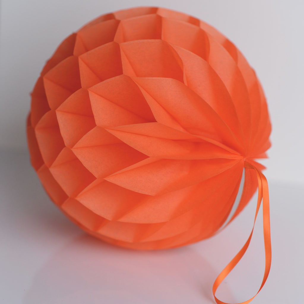 Honeycomb - Orange Paper Honeycomb - Hanging Party Decorations
