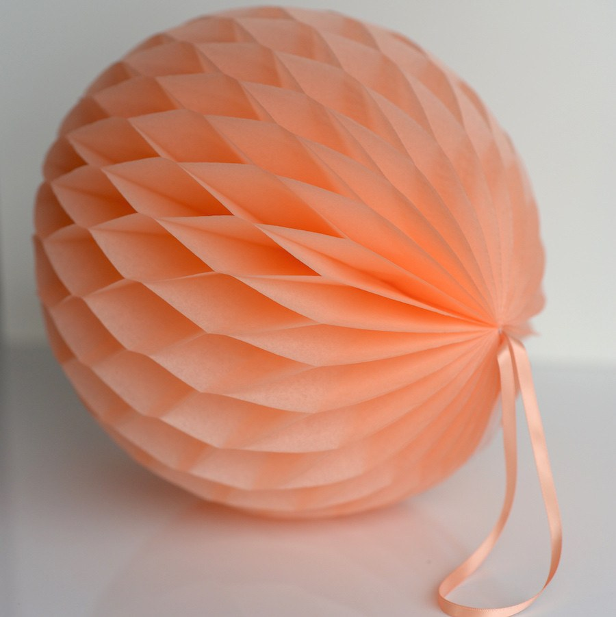 Honeycomb - Peach Paper Honeycomb - Hanging Party Decorations