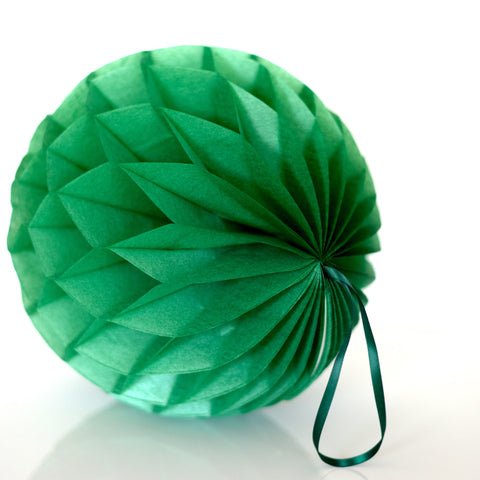 Honeycomb - Pearlesence Holiday Green Paper Honeycomb - Hanging Party Decorations
