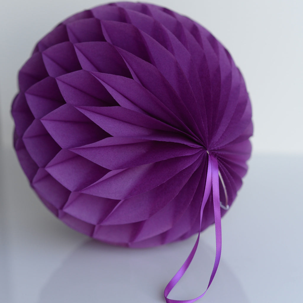 Honeycomb - Plum Paper Honeycomb - Hanging Party Decorations