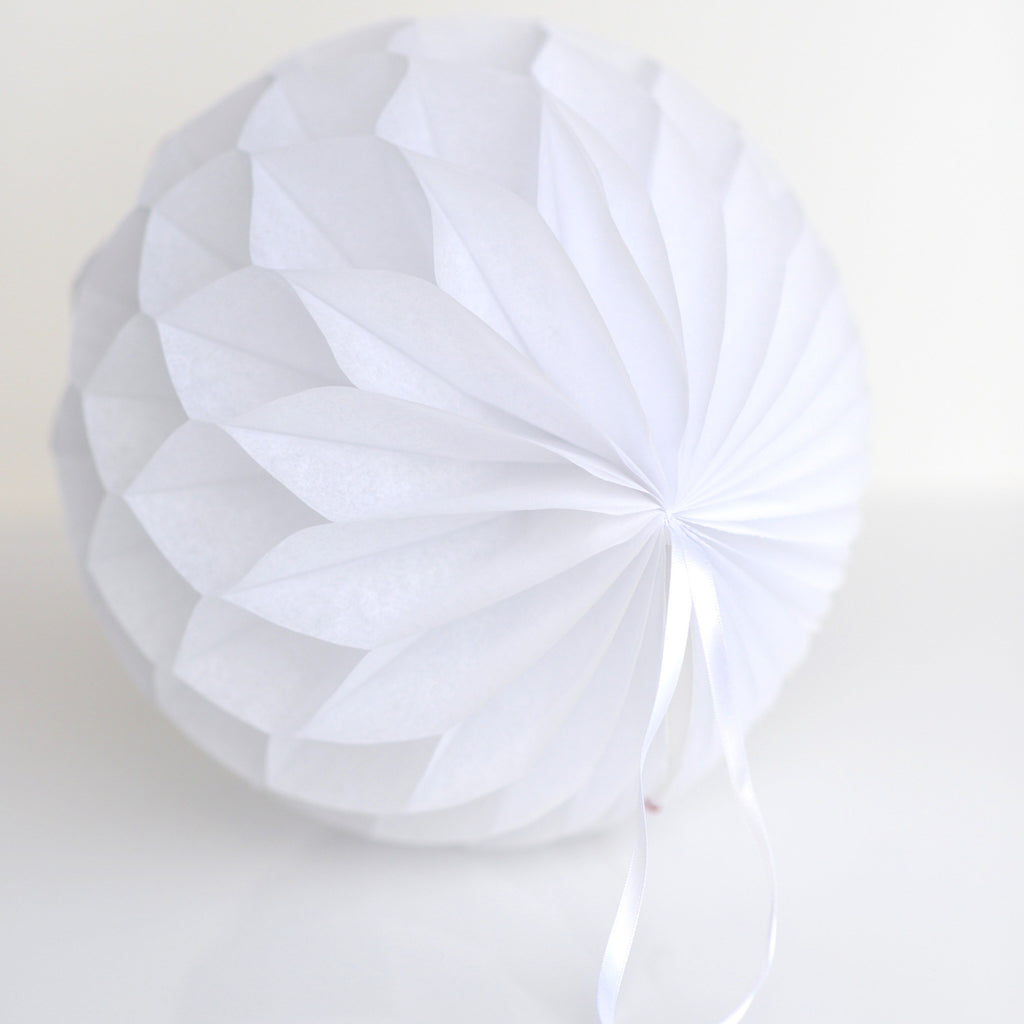 Honeycomb - White Paper Honeycomb - Hanging Party Decorations