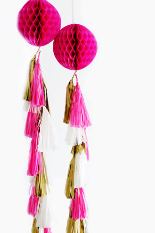 Paper Honeycomb ball with tassel tail - custom color