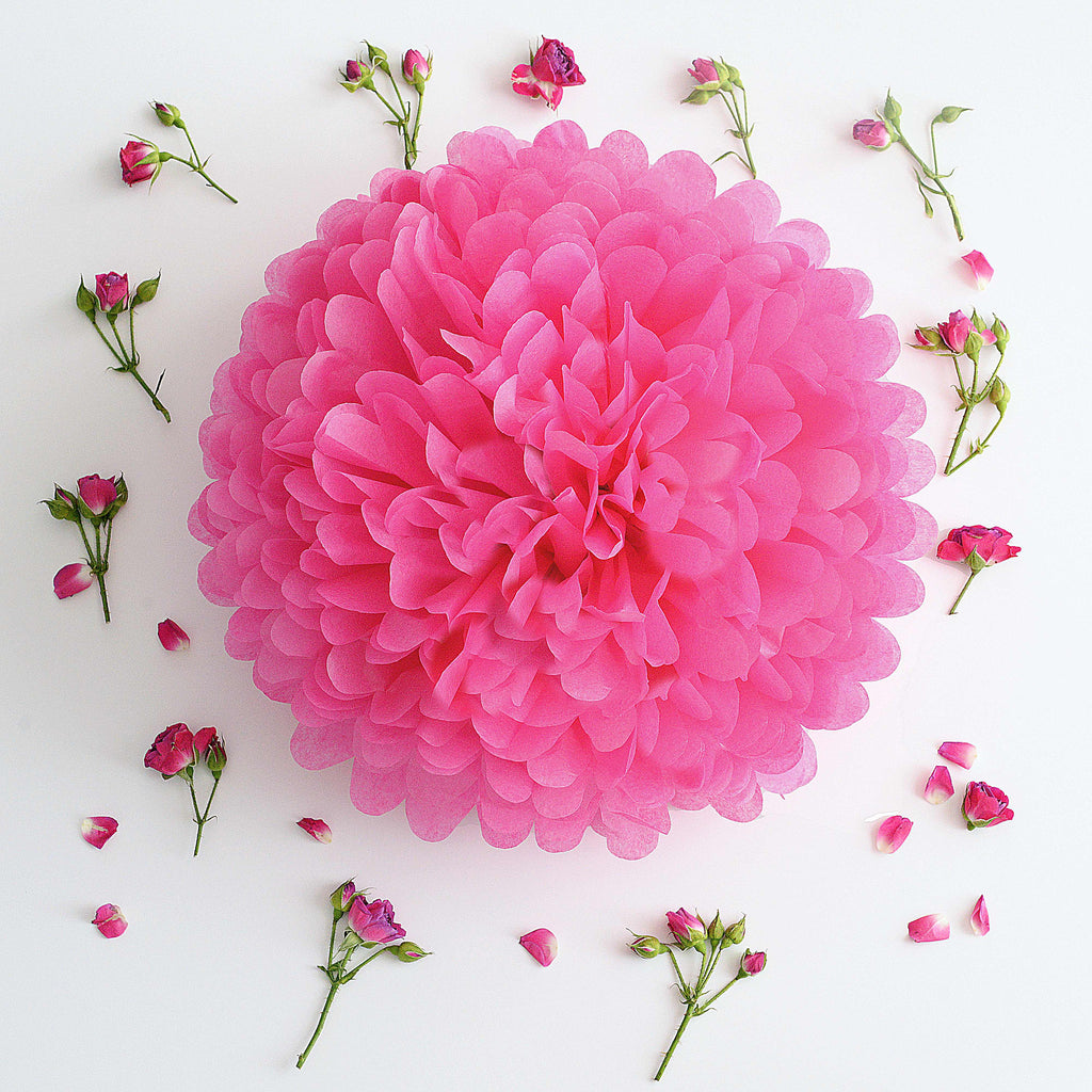 Hot pink / cerise tissue paper pom pom - Decopompoms - party decoration boutique