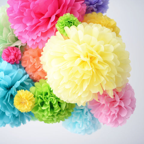 Rainbow pom poms party set