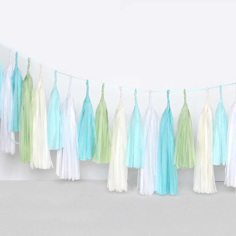 Pastel - light blue and green tassel garland - various lengths