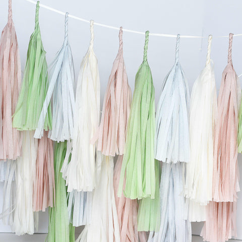 Dusty blush and green tassel garland - various lengths